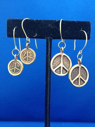 Beatles Inspired Bronze Peace Sign Earrings