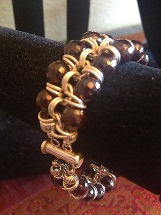 Garnett and Sterling Silver Bracelet