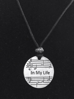 "Beatles Inspired Round ""In My Life"" Lyric Necklace"
