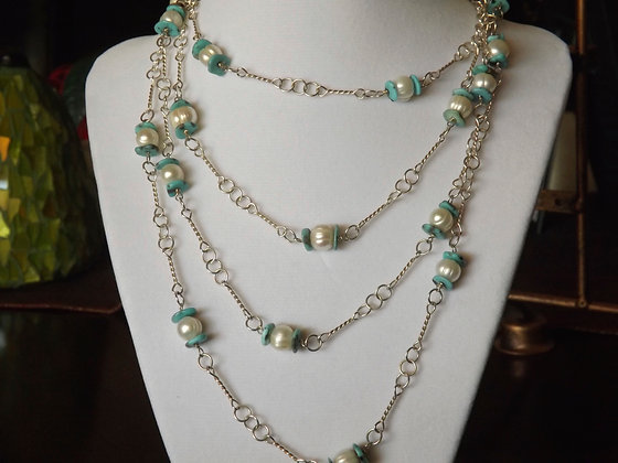 "Pearl & Turquoise 60"" Station Necklace"