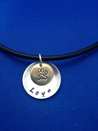 "Sterling Customizable ""LOVE""  Disc on Cord"