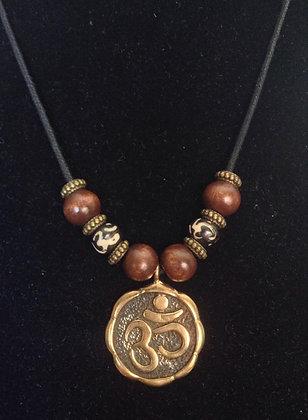 "Beatles Inspired Bronze ""Ohm"" Beaded Necklace"