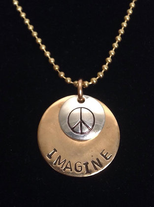 "Beatles Inspired Bronze ""Imagine Peace"" Necklace"