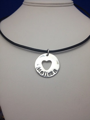 Center cutout Heart Disc Sterling SIlver on cord