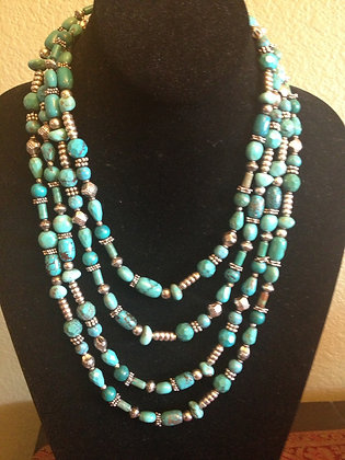 """72"""" Turquoise and Sterling Silver"""