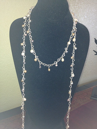 "60"" Dangling Pearls on SS Heart link necklace"