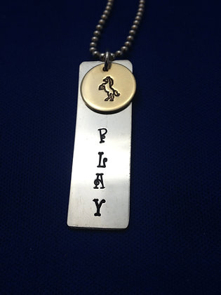 """Sterling Custom """"PLAY"""" Tag on SS Chain"""