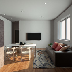 Render 3D Open Space Appartamento 4
