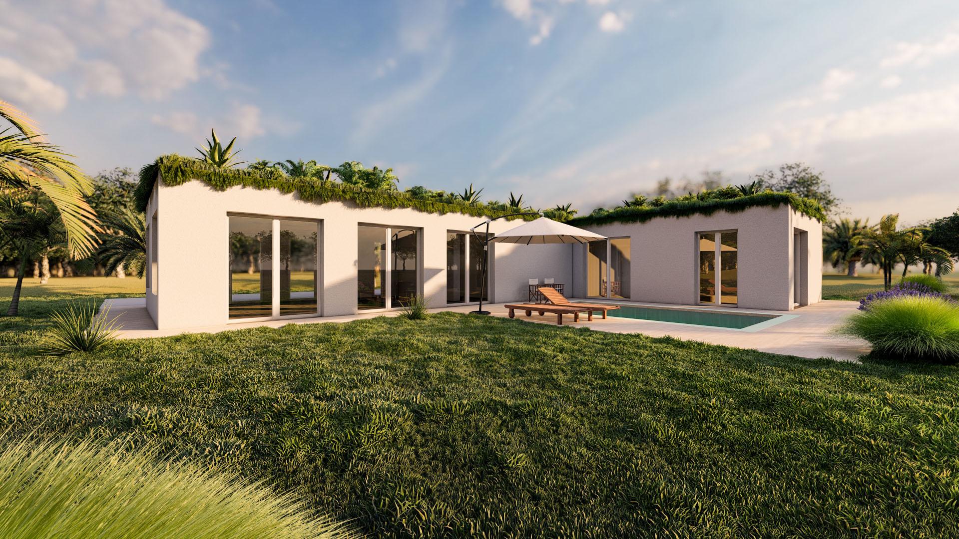 Render 3D Casa Bioclimatica