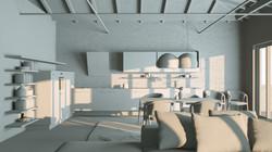Rendering 3D Modellazione Open Space