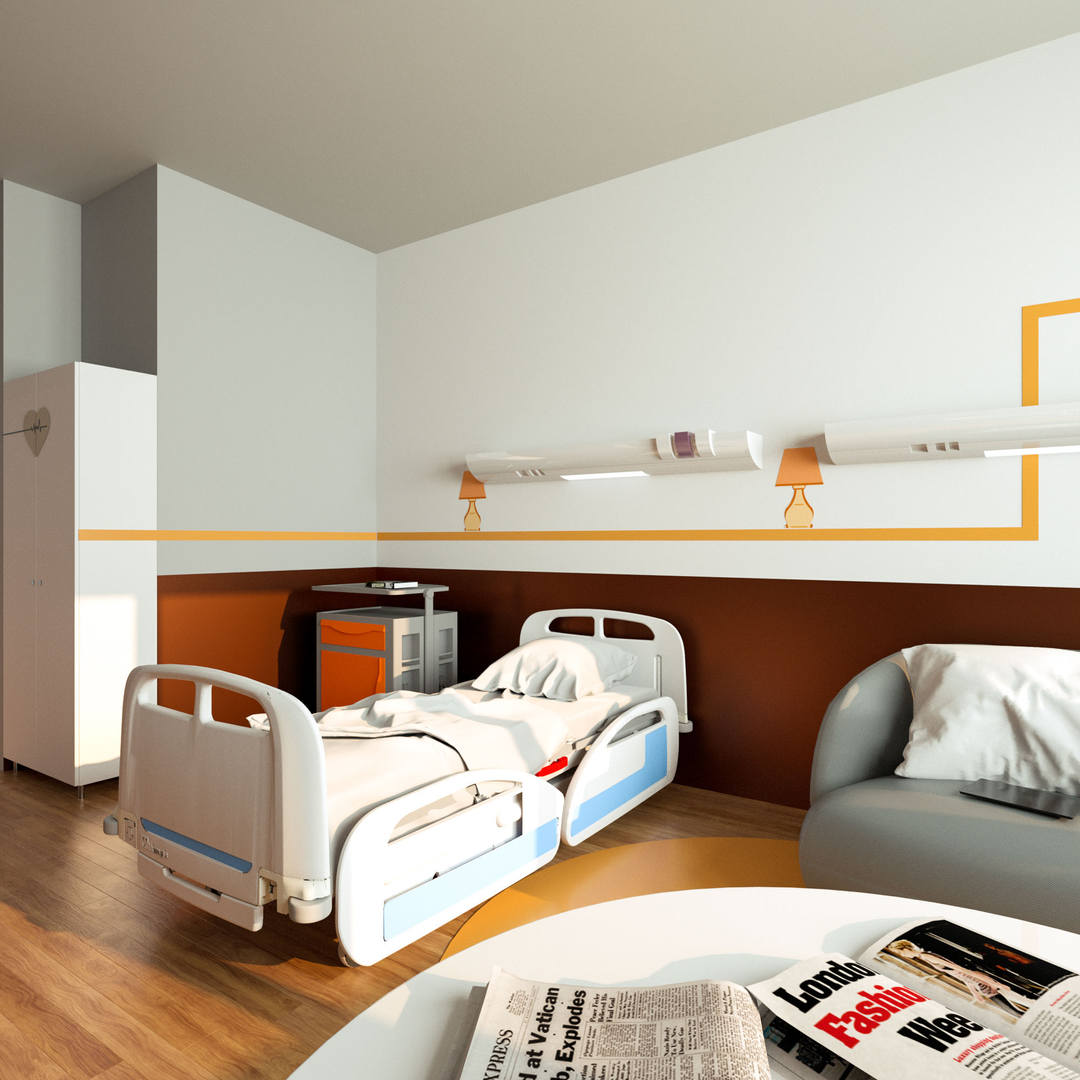 Render 3D Stanza Ospedale