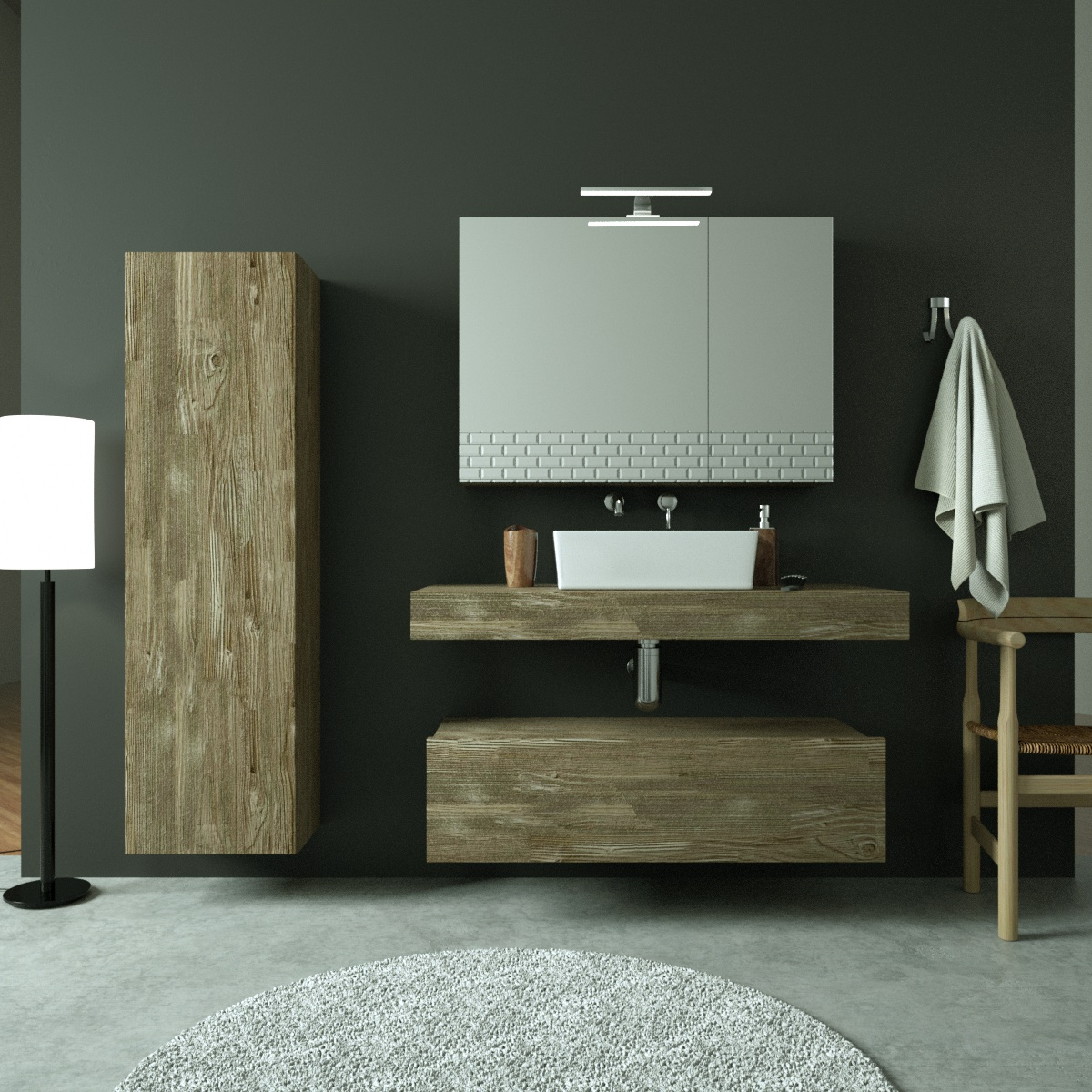 Render 3D Catalogo Mobile Bagno Finitura