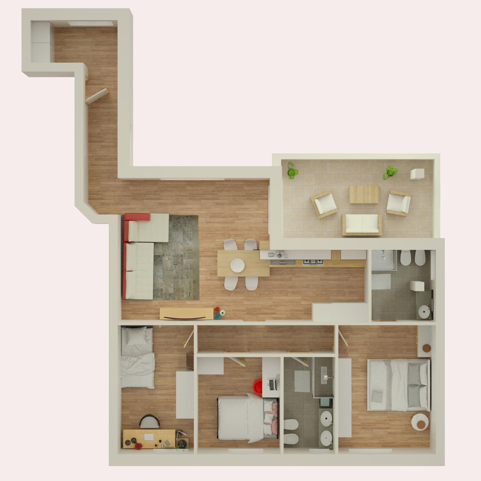 Planimetria 3D Appartamento 1