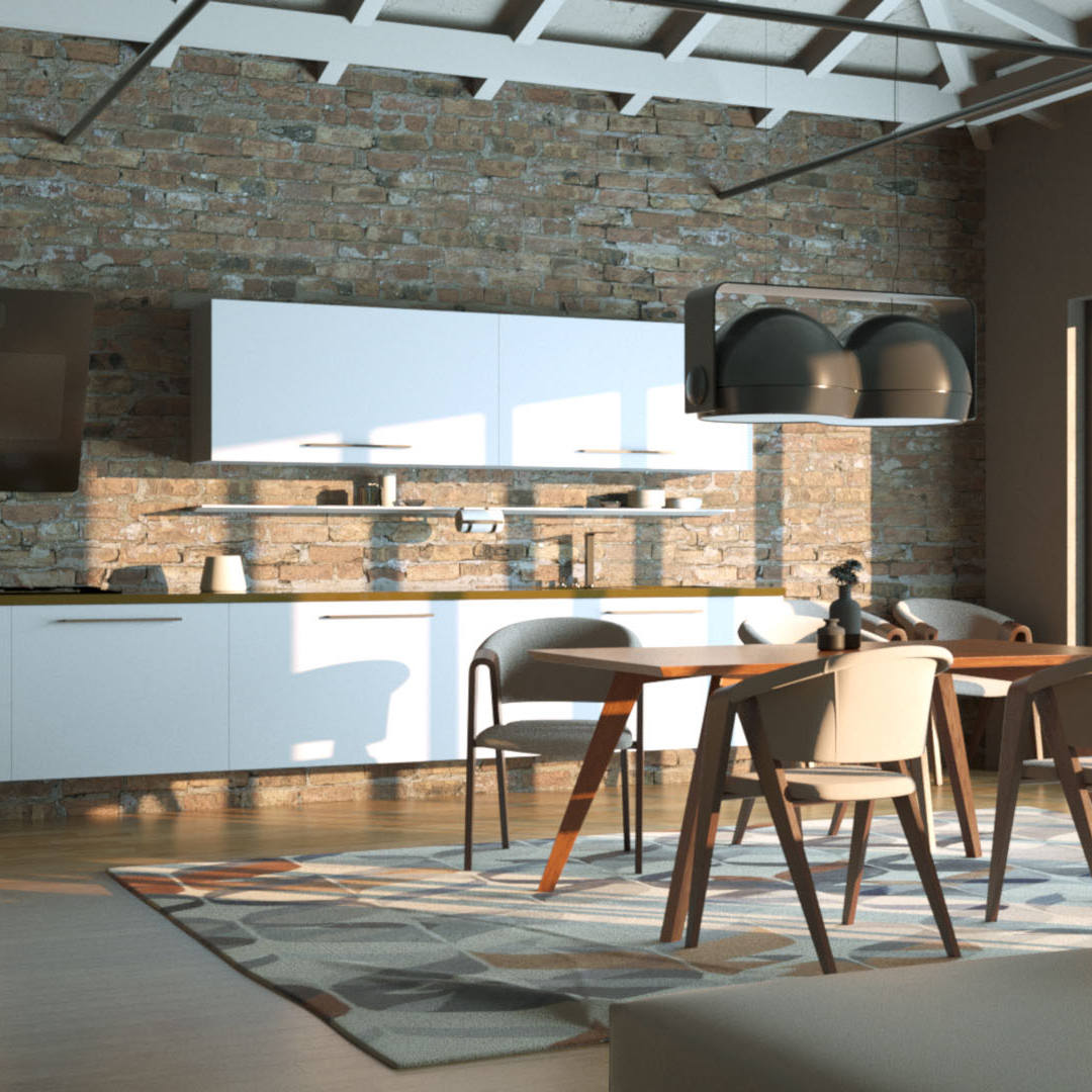Rendering 3D Open Space Cucina