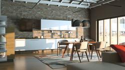 Rendering 3D Open Space Cucina