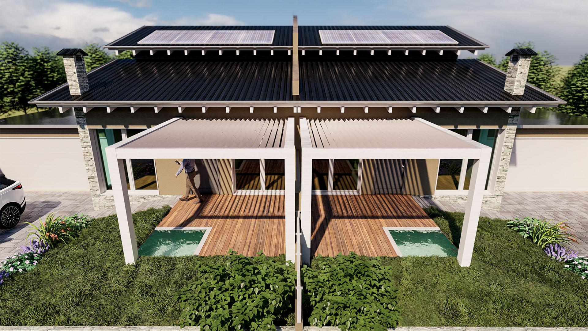 Render 3D Villa Bifamiliare Novara - Alt