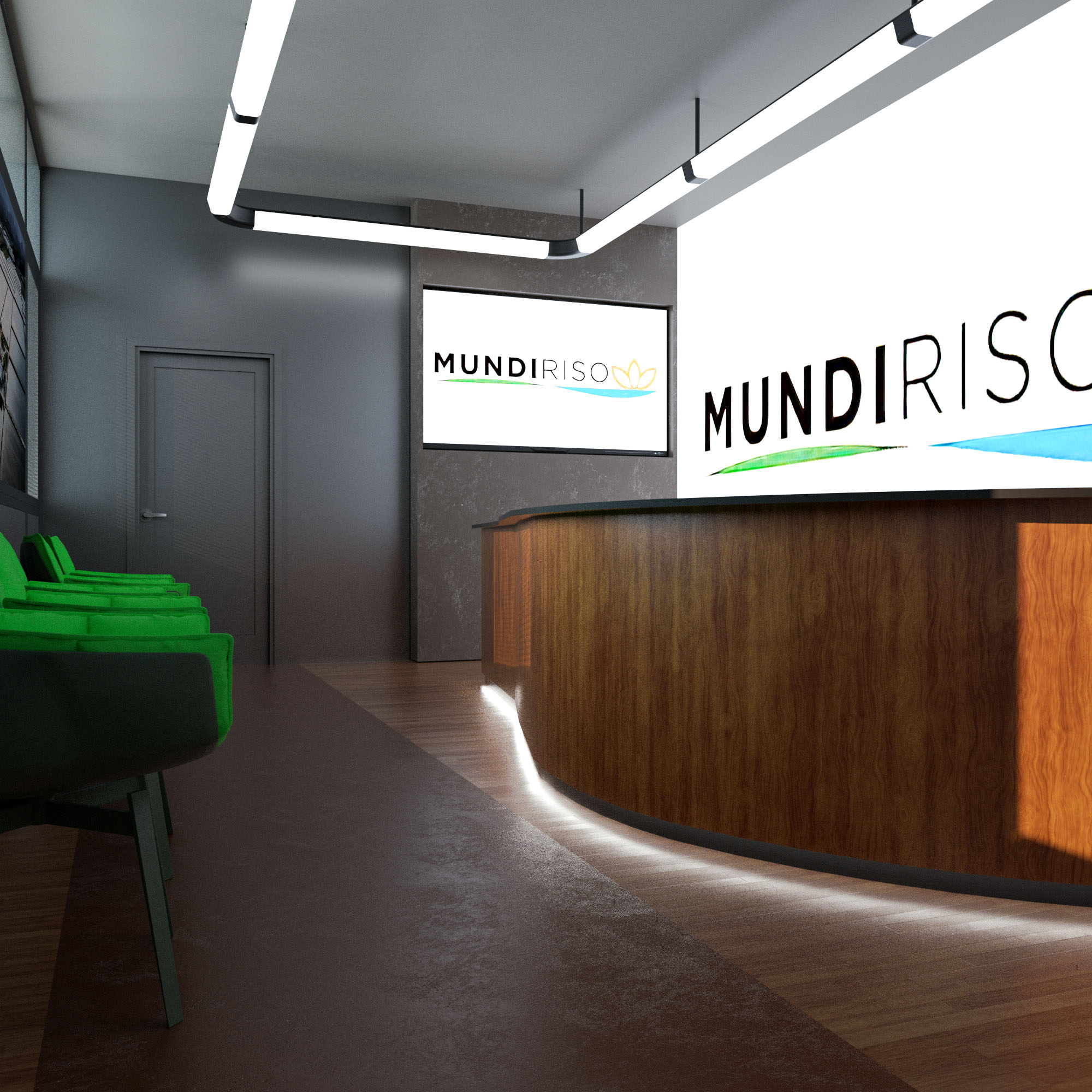 Render 3D Reception Ufficio