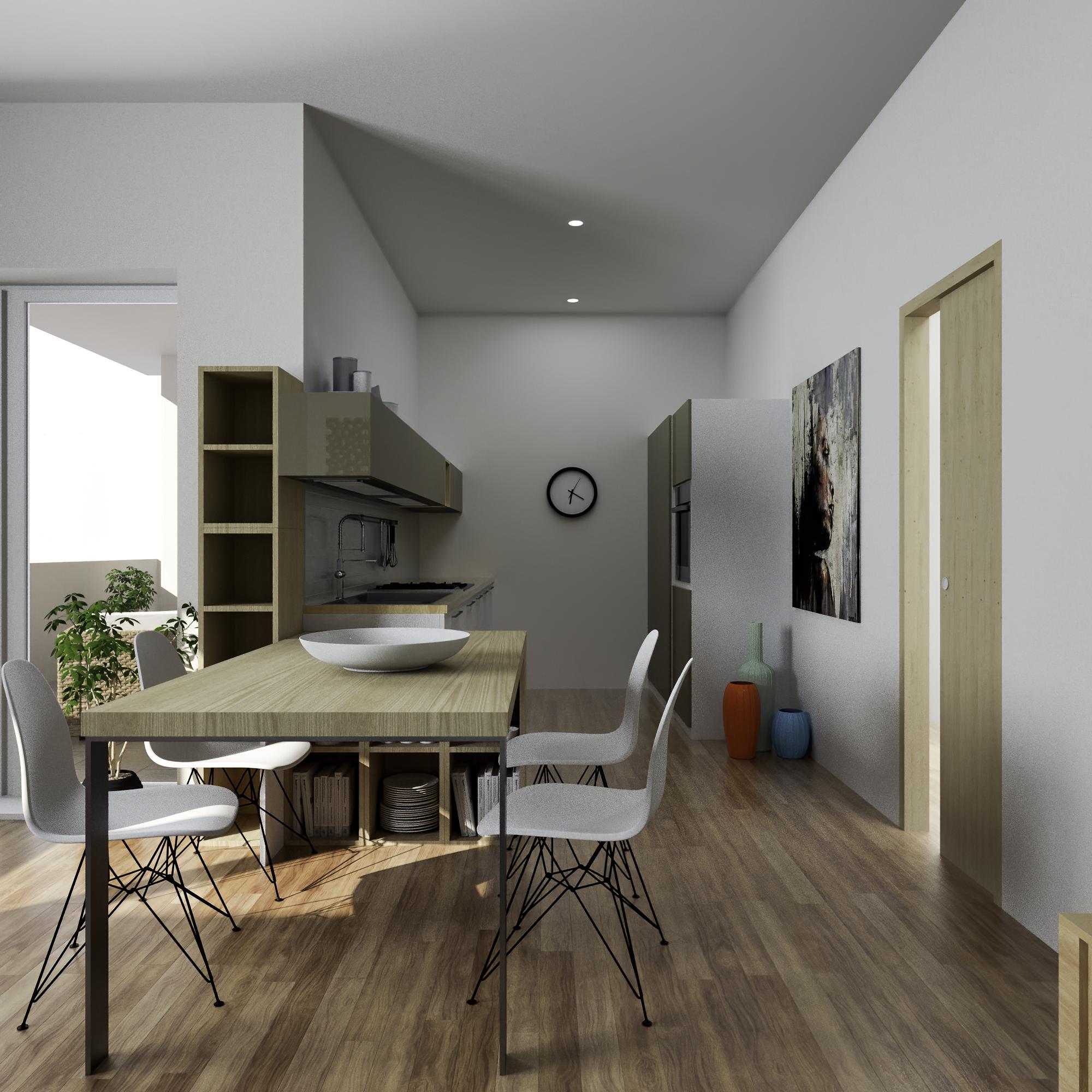 Render 3D Open Space Appartamento 1