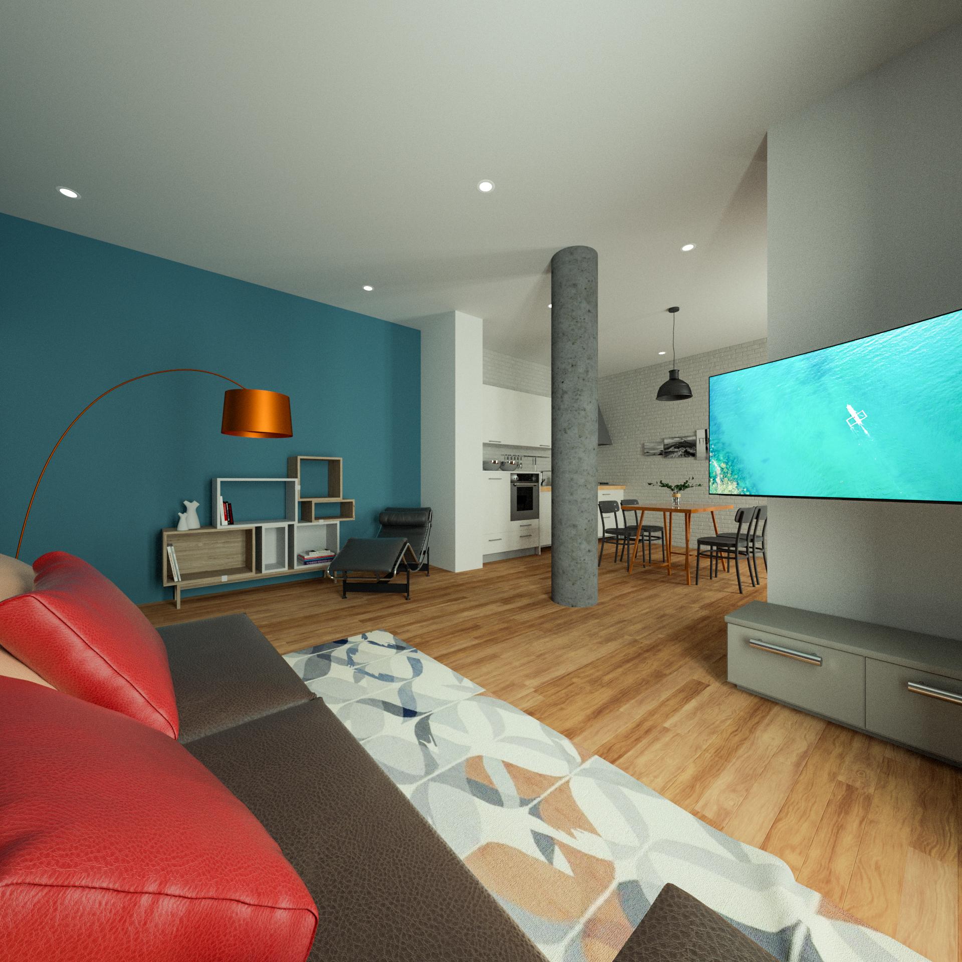 Render 3D Soggiorno Open Space Appartame