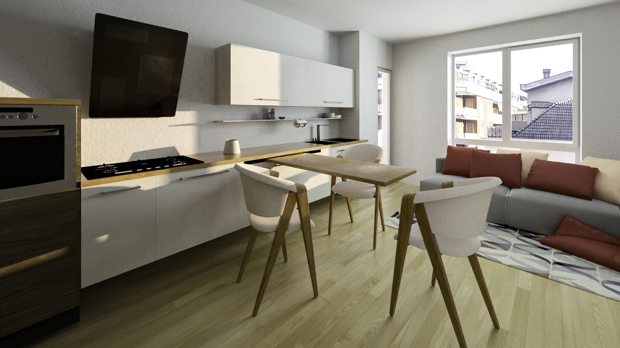 Render 3D Soggiorno e Cucina