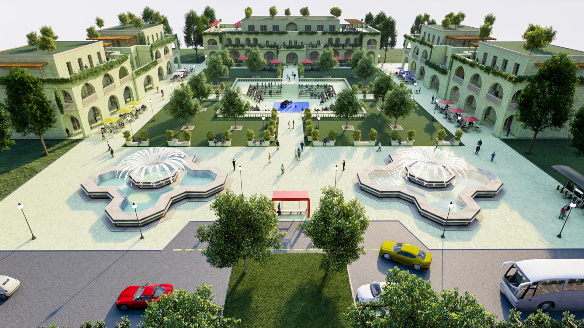 Render 3D di una Piazza