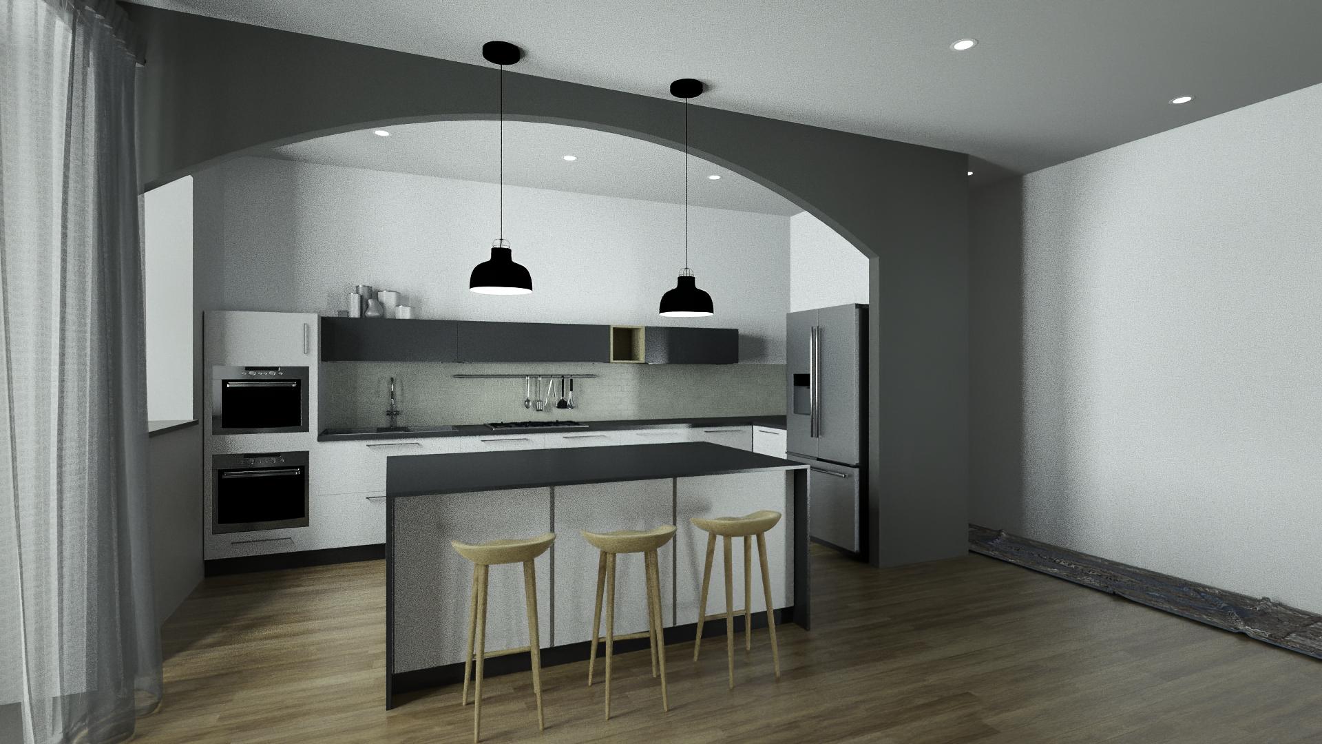 Render 3D Cucina Moderna per Ristruttura