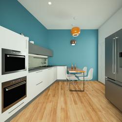 Render 3D Cucina Open Space Appartamento