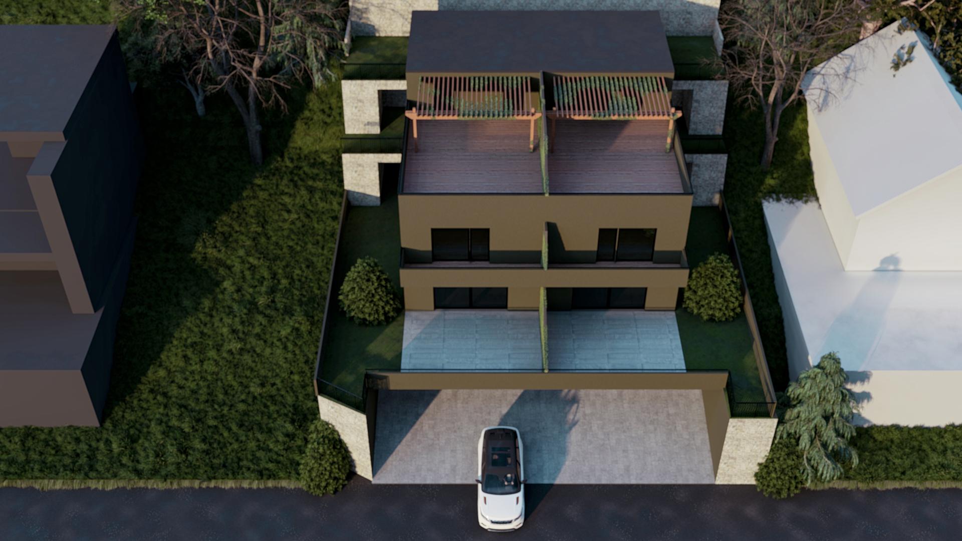 Render 3D Bifamiliare Moderna Vista Alta