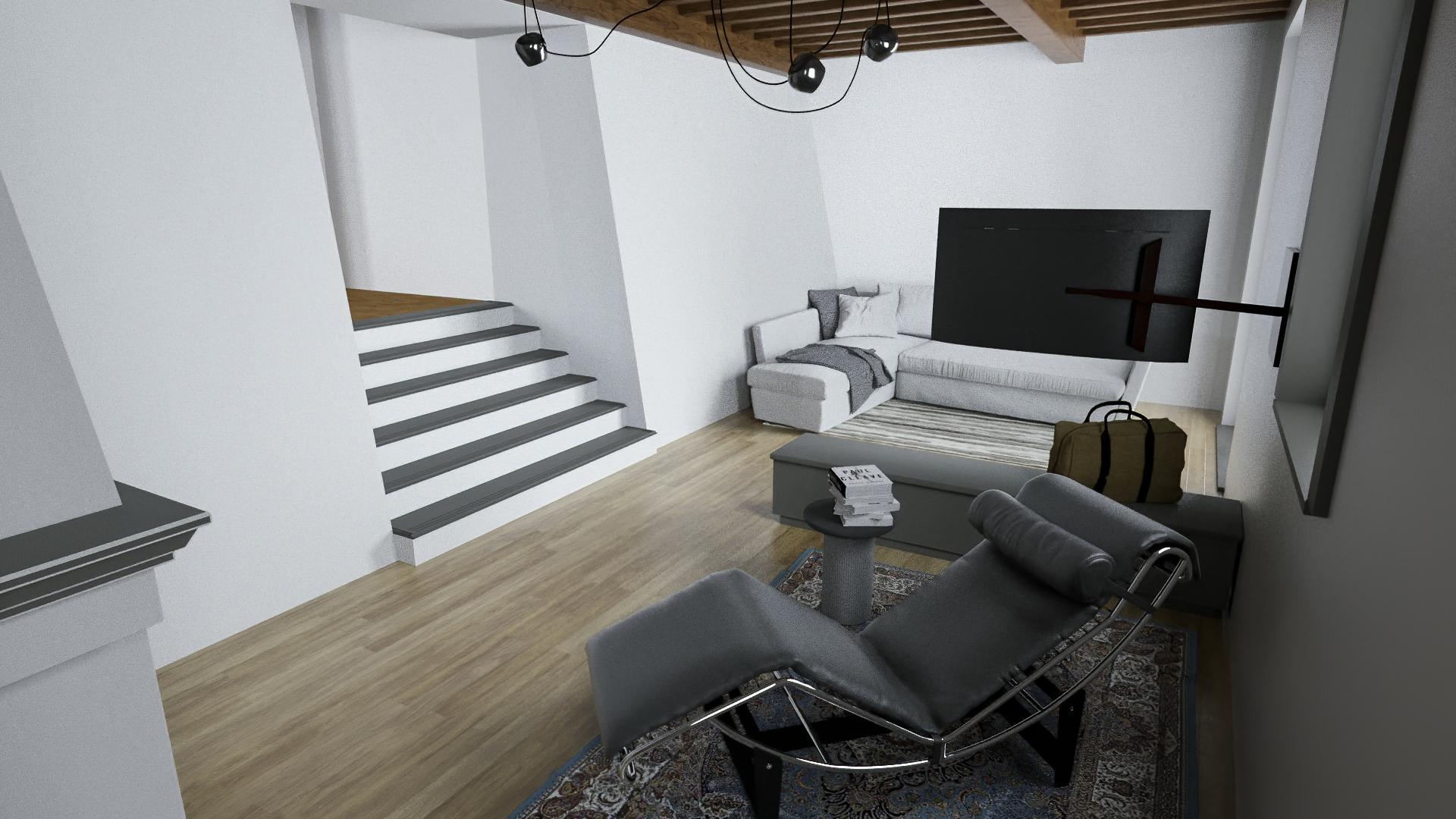 Render 3D Ristrutturazione Soggiorno a S