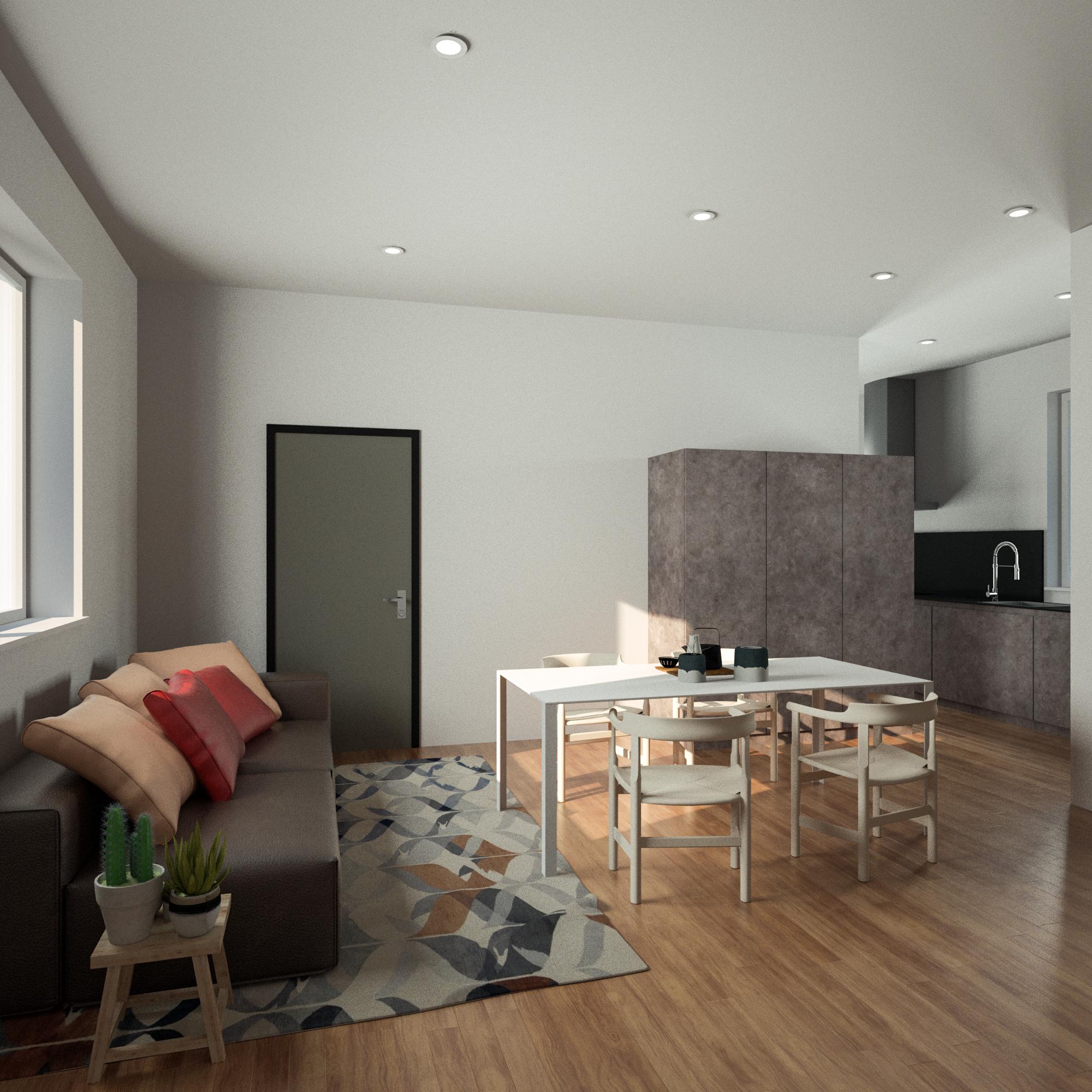Render 3D Soggiorno e Cucina Appartament