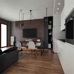 Render 3D Cucina e Sala da Pranzo