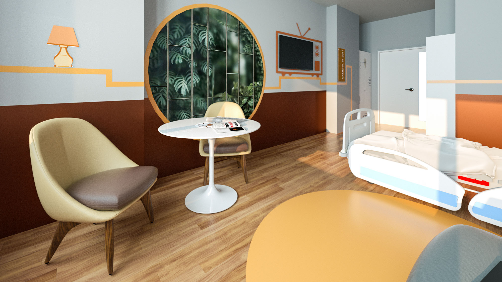 Render 3D Camera da Letto Ospedale