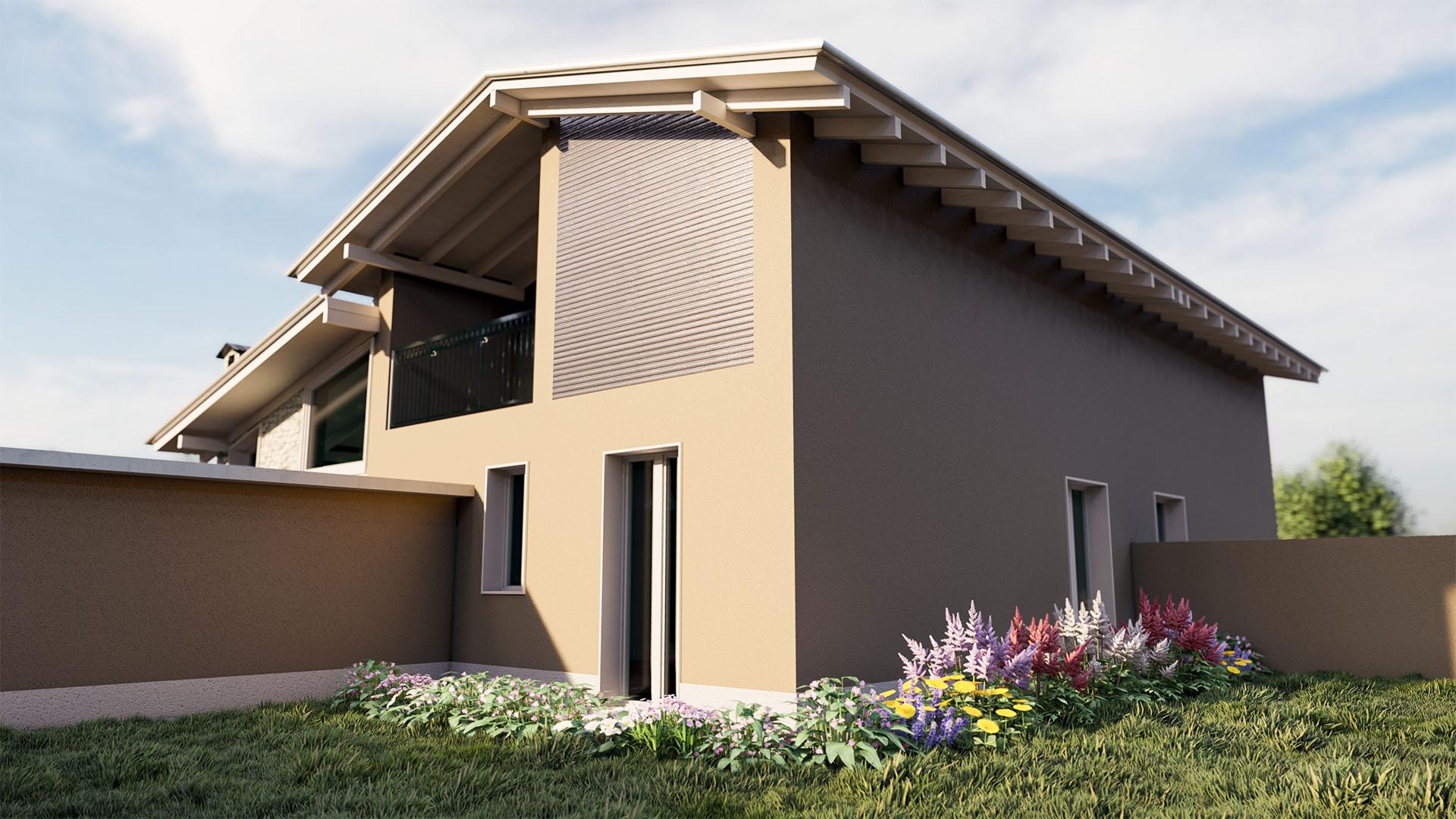Render 3D Villa Bifamiliare Novara - Ret