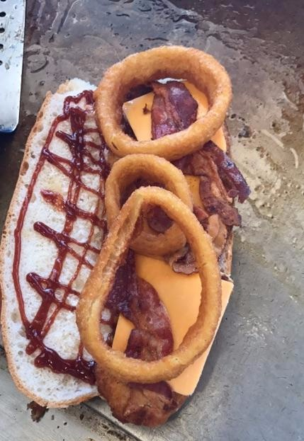 Fried Onion and Bacon Hero