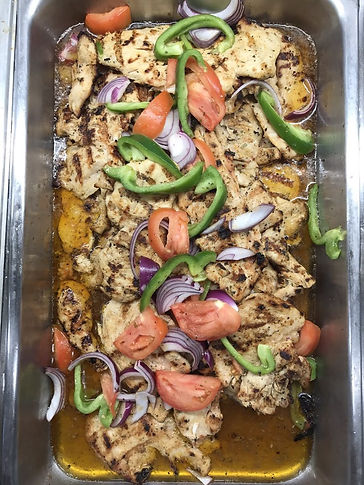 Chicken, grilled chicken, sliced onions and tomatoes