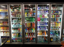 Cold soda, juice and alcohol, beers