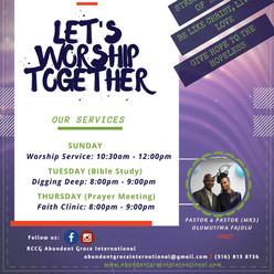 Worship service at 10.30am