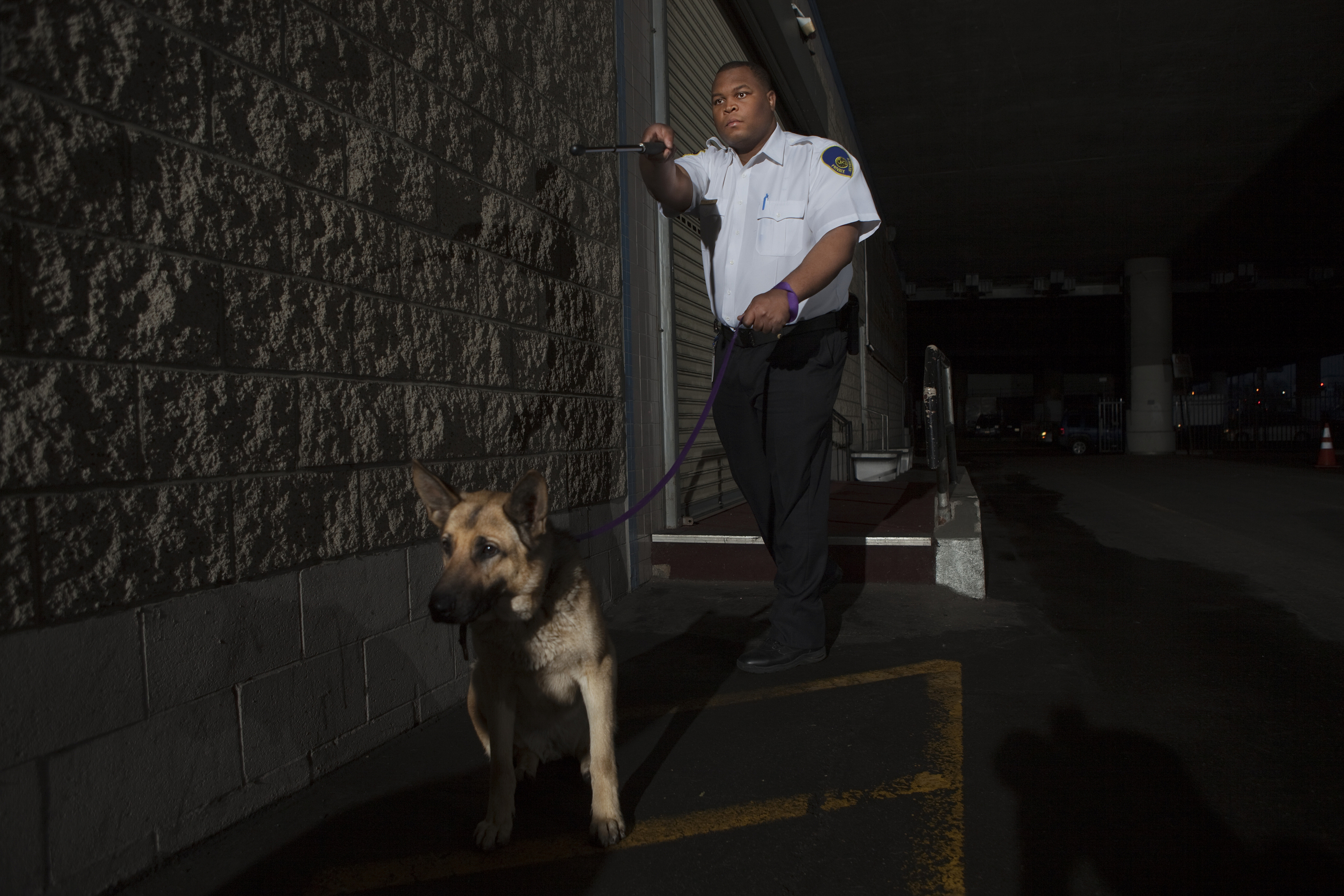 Security guard with dog patrols on duty.jpg