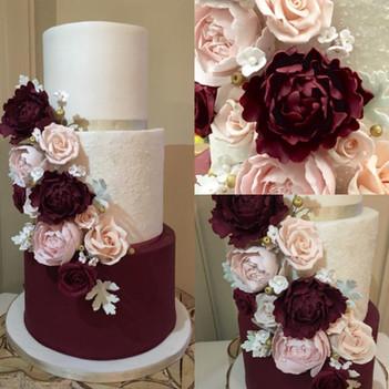 Three tier deep red wedding cake
