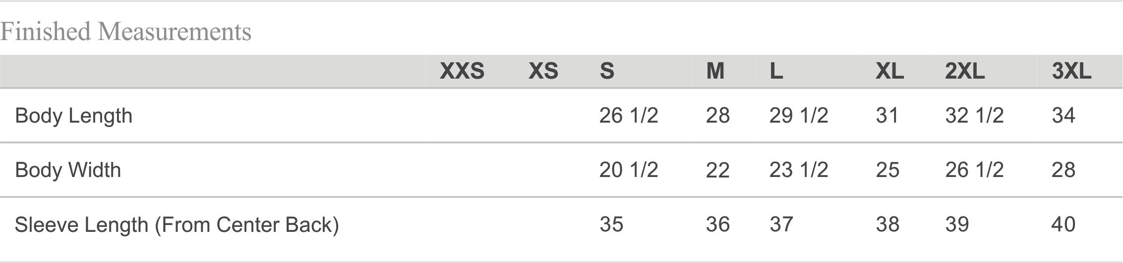 8833 Size Chart