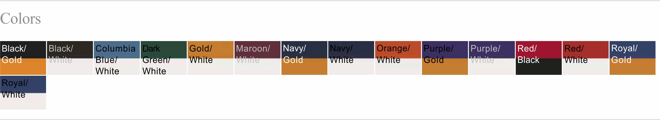 197 Color Chart