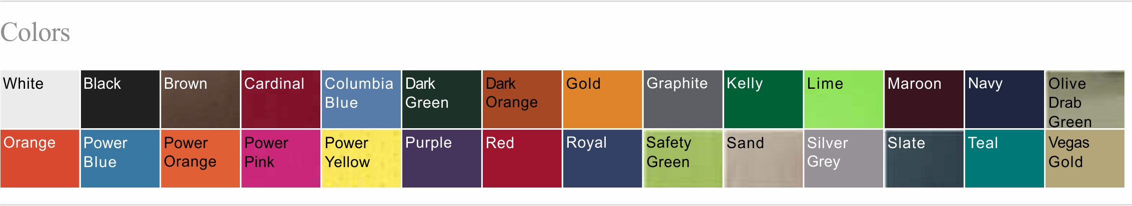 790 Color Chart