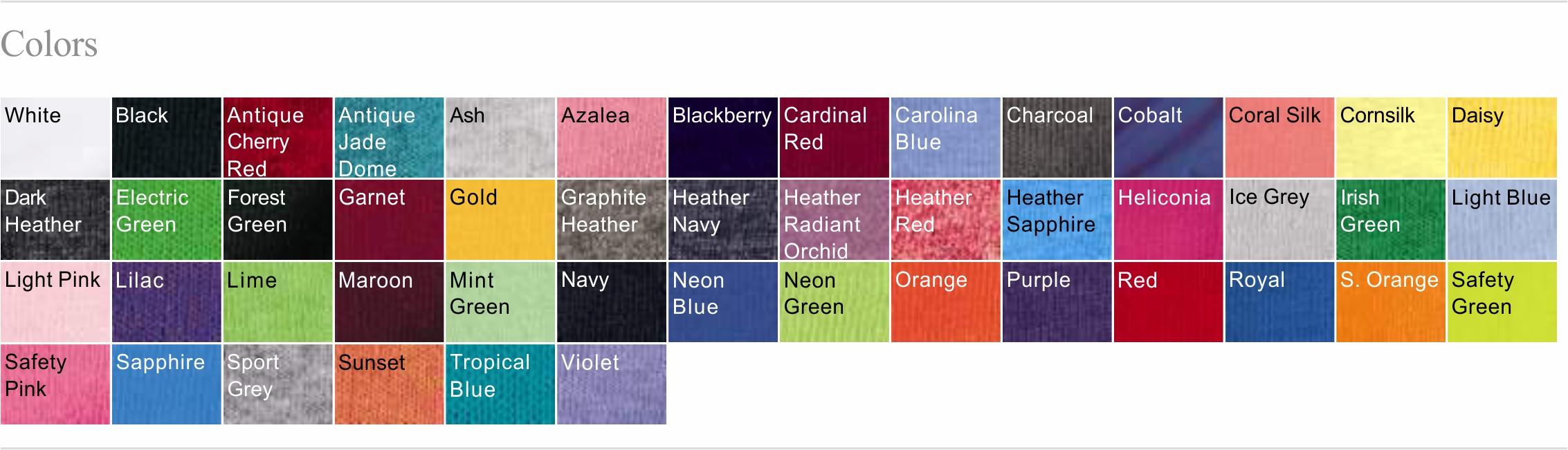 5000L Color Chart