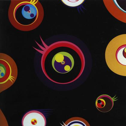 Takashi Murakami Jellyfish Eyes (Black I), 2004  Acrylic on canvas and panel support  47 3/8 x 47 3/8 inches