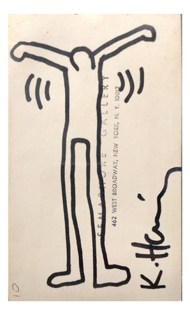 Keith Haring Untitled (Ink Drawing on Semaphore Gallery Card), 1984 Black in drawing over ink stamp on index card stock 5 x 3 inches Signed in black ink
