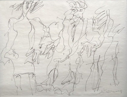 Willem De Kooning  Three figures Ink and graphite on paper 8 ½ x 11 inches (21.6 x 28 cm) Signed lower right