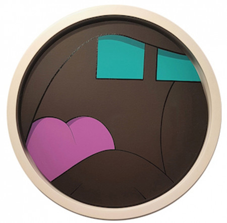 KAWS Untitled (Tondo), 2010 Acrylic on canvas  Signed on verso 20 inches in diameter