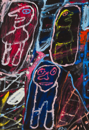 Jean Dubuffet Site avec 3 personnages, 1981 (from Psycho-sitesSeries) Acrylic on paper laid to canvas  19 ¾ inches x 13 ½ inches