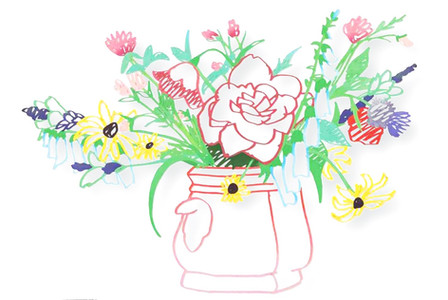 Wildflower Bouquet, (One-Handled Vase)
