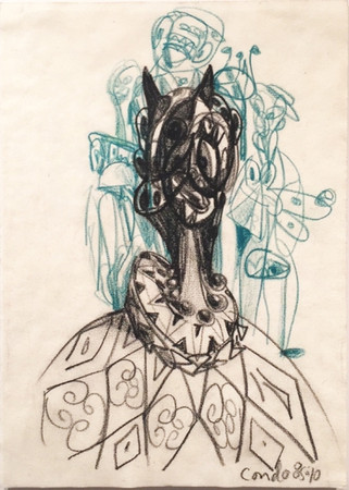 Untitled, 1985-1986 Signed front lower right Wax & Conte Crayon on paper 11.5 x 8.3